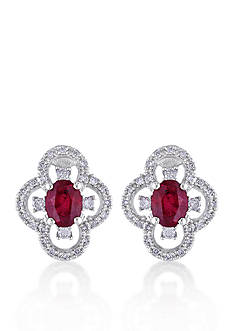 Belk & Co. 10k White Gold Ruby and Diamond Stud Earrings