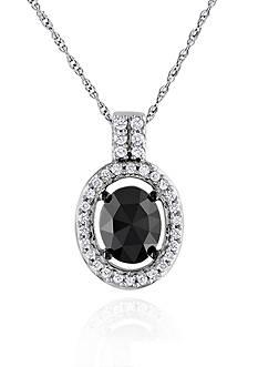 Belk & Co. Black and White Diamond Oval Pendant in 14k White Gold