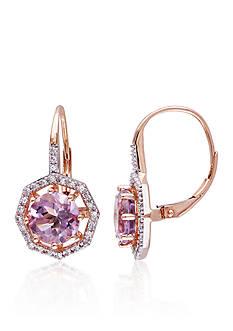Belk & Co. 10k Rose Gold Rose de France and Diamond Earrings