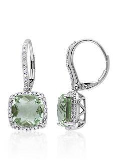 Belk & Co. 10k White Gold Green Amethyst and Diamond Earrings