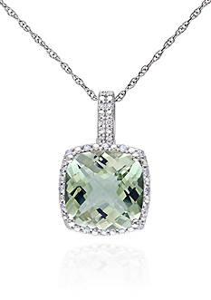 Belk & Co. 10k White Gold Green Amethyst and Diamond Pendant