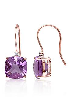 Belk & Co. 10k Rose Gold Amethyst and Diamond Earrings