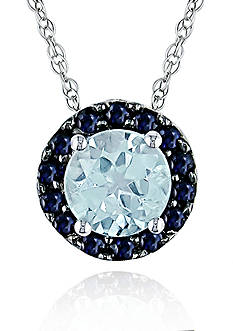 Belk & Co. 10k White Gold Blue Topaz and Sapphire Pendant