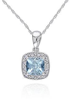 Belk & Co. 10k White Gold Aquamarine and Diamond Pendant