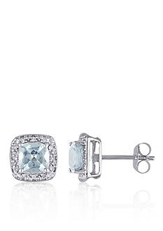 Belk & Co. 10k White Gold Aquamarine and Diamond Stud Earrings