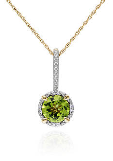 Belk & Co. 10k Yellow Gold Peridot and Diamond Pendant