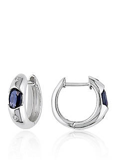 Belk & Co. 10k White Gold Sapphire and Diamond Hoop Earrings