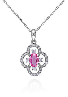 Belk & Co. 10k White Gold Pink Sapphire and Diamond Flower Pendant