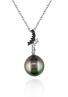 Belk & Co. 10k White Gold Black Tahitian Pearl and Black and White Diamond Pendant