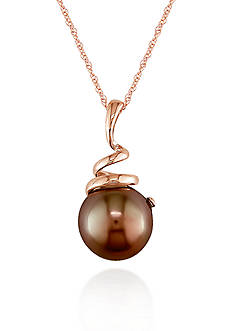 Belk & Co. 10k Rose Gold Brown Tahitian Pearl Pendant