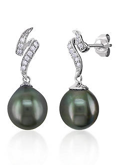 Belk & Co. 10k White Gold Black Tahitian Pearl and Diamond Earrings