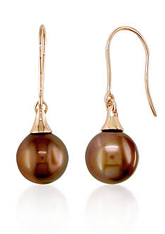 Belk & Co. 14k Rose Gold Brown Tahitian Pearl Earrings