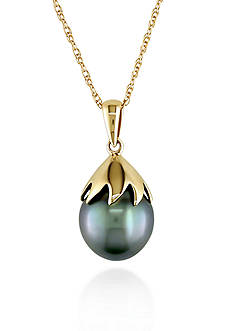 Belk & Co. 10k Yellow Gold Black Tahitian Pearl Pendant