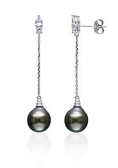 Belk & Co. 10k White Gold Black Tahitian Pearl and White Sapphire Earrings