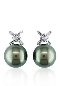 Belk & Co. 14k White Gold Black Tahitian Pearl and Diamond Earrings