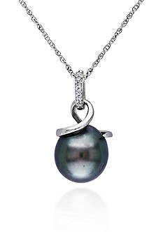 Belk & Co. 10k White Gold Black Tahitian Pearl and Diamond Pendant