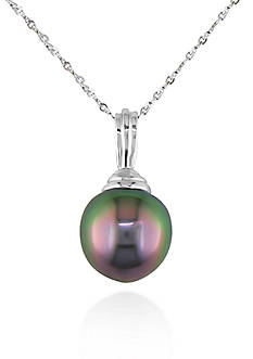 Belk & Co. 14k White Gold Black Tahitian Pearl Pendant