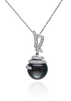 Belk & Co. 10k White Gold Black Tahitian Pearl and Diamond Pendant