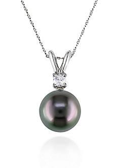 Belk & Co. 14k White Gold Black Tahitian Pearl and Diamond Pendant