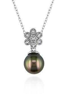 Belk & Co. Sterling Silver Black Tahitian Pearl and Diamond Pendant
