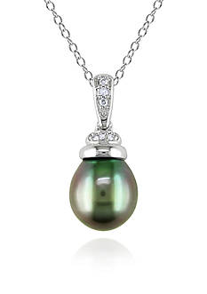 Belk & Co. Sterling Silver Black Tahitian Pearl and Diamond Pendant