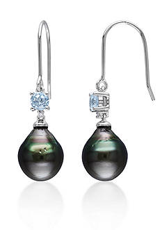 Belk & Co. Sterling Silver Black Tahitian Pearl, Blue Topaz and Diamond Earrings