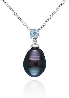Belk & Co. Sterling Silver Black Tahitian Pearl, Blue Topaz, and Diamond Pendant