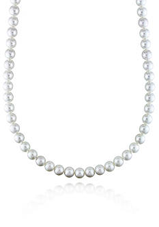 Belk & Co. 14k White Gold White South Sea Pearl and Diamond Necklace