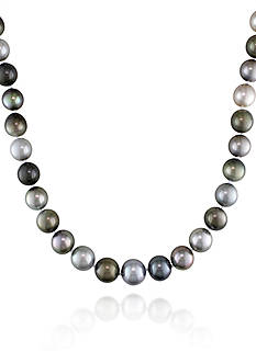 Belk & Co. 14k White Gold Multi-Black Tahitian Pearl and Diamond Necklace
