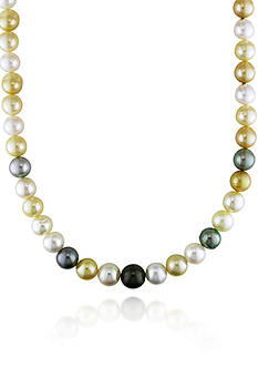 Belk & Co. 14k Yellow Gold Multi-Color South Sea and Tahitian Pearl Necklace