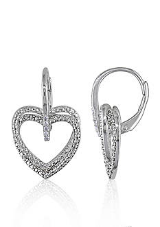 Belk & Co. Diamond Heart Earrings in Sterling Silver