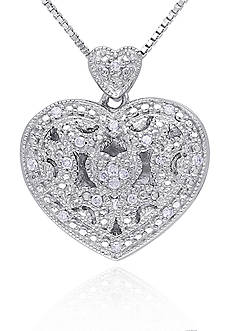 Belk & Co. Diamond Heart Locket in Sterling Silver