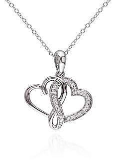 Belk & Co. Diamond Double Heart Pendant in Sterling Silver