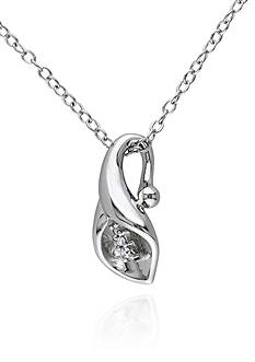 Belk & Co. Diamond Calla Lily Pendant in Sterling Silver