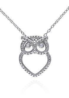 Belk & Co. Diamond Owl Pendant in Sterling Silver