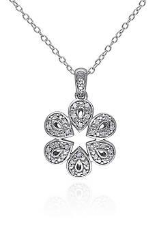 Belk & Co. Diamond Flower Pendant in Sterling Silver