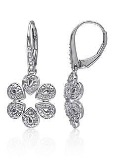 Belk & Co. Diamond Flower Earrings in Sterling Silver