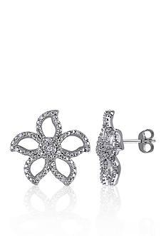 Belk & Co. Diamond Flower Stud Earrings in Sterling Silver
