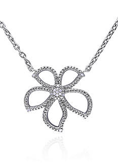 Belk & Co. Diamond Flower Pendant in Sterling Silver