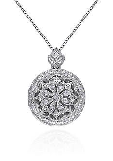 Belk & Co. Diamond Locket Pendant in Sterling Silver