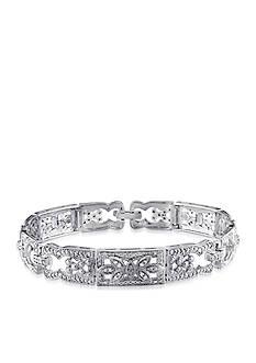 Belk & Co. Diamond Etched Link Bracelet in Sterling Silver
