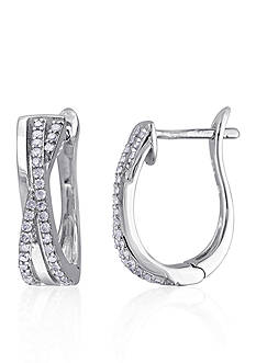 Belk & Co. Diamond X-Hoop Earrings in Sterling Silver