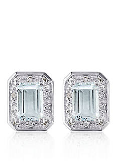 Belk & Co. Sterling Silver Aquamarine and Diamond Stud Earrings