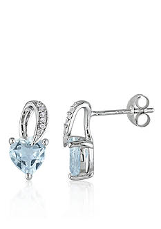 Belk & Co. Sterling Silver Aquamarine and Diamond Heart Earrings