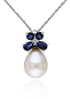 Belk & Co. 10k White Gold Cultured Freshwater Pearl, Sapphire, and Diamond Pendant