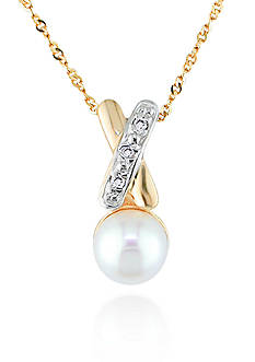 Belk & Co. 14k Yellow Gold Cultured Freshwater Pearl and Diamond Pendant