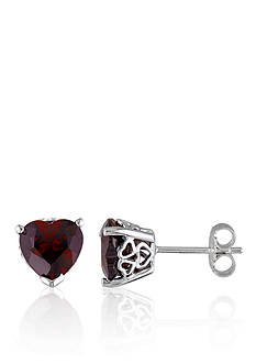 Belk & Co. Garnet Earrings in Sterling Silver