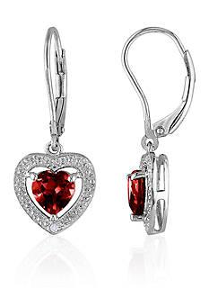 Belk & Co. Garnet and Diamond Earrings in Sterling Silver