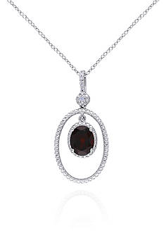 Belk & Co. Garnet and Diamond Pendant in Sterling Silver