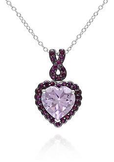 Belk & Co. Rose de France Amethyst and Purple Garnet Heart Pendant in Sterling Silver